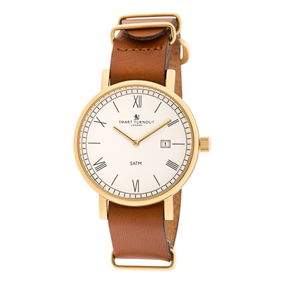 Smart Turnout London County Watch with IP Plated Gold Case and Leather Strap