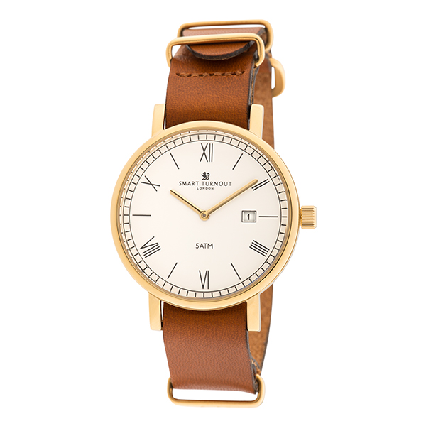 Smart Turnout London County Watch with IP Plated Gold Case and Leather Strap White/Gold