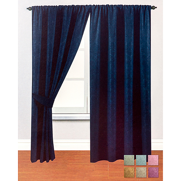 Woven Blackout Damask 3 inch (46 inches x) Curtains Navy