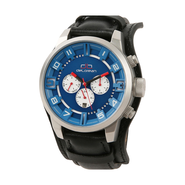 deLorean Limited Edition Slick Pit Stop Automatic Watch with Leather Strap Blue