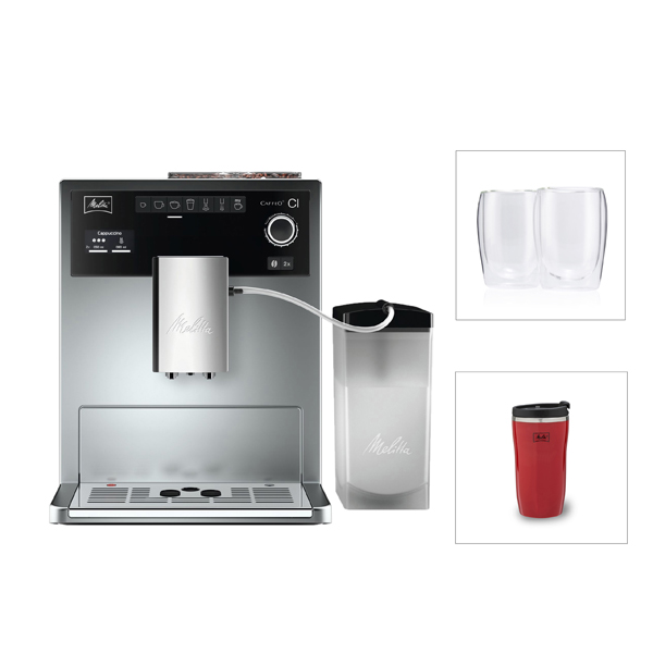 Melitta CI Coffee Machine with Care Kit and 2 Glasses and 1 Free Travel Mug