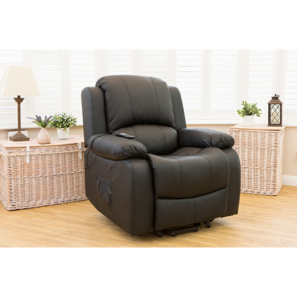 Chicago Bonded Leather Rise and Recliner Chair with Heat and Massage Black