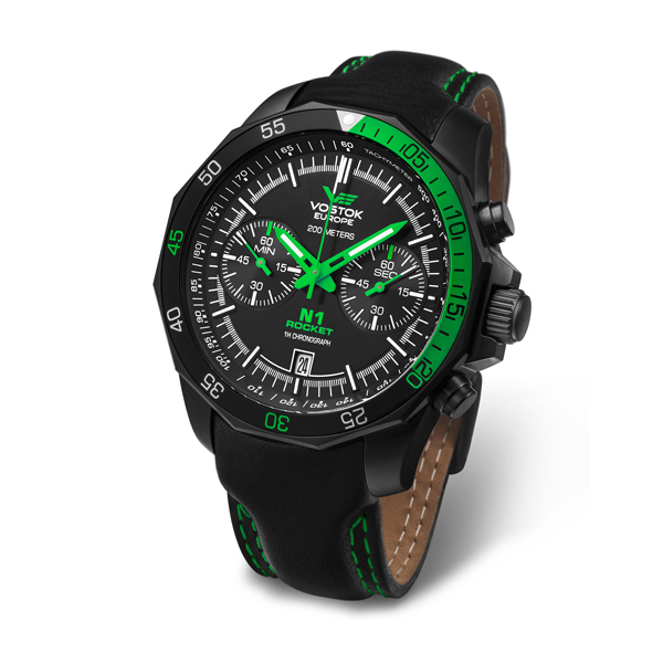 Vostok Europe Gent's N1 Rocket Chronograph Watch with Leather Strap Black/Green