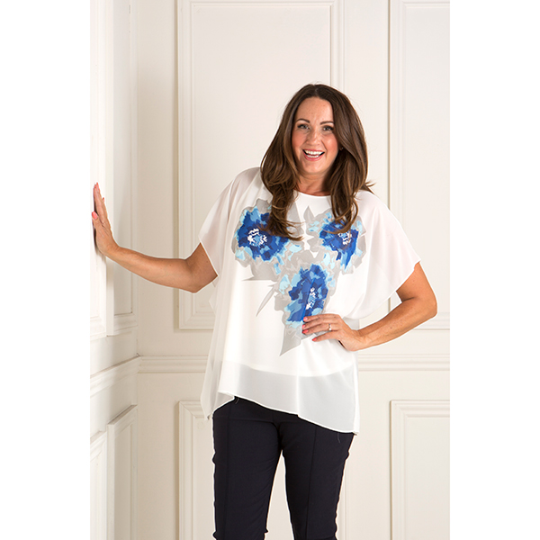 Reflections Chiffon Lined Top with Flower Design Blue/White