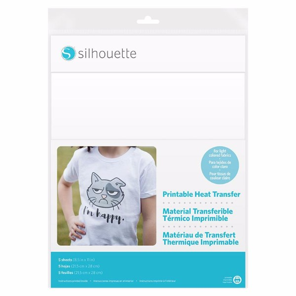 Silhouette Printable Heat Transfer Material Flocked - Size  216mm x 279mm - Light Fabrics No Colour