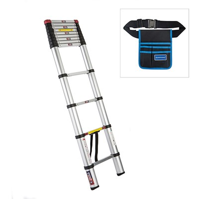 Spear and Jackson 3.8m Telescopic Ladder MKII with Silverline Tool Belt