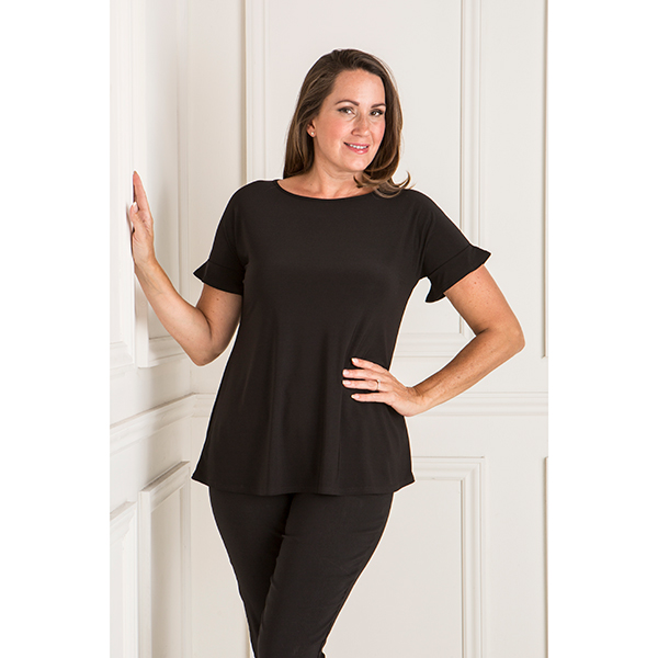 Styled By Ruffle Short Sleeve Top Black