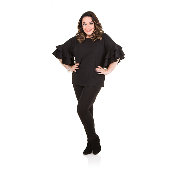 Just Be You Crepe Frill Top Black