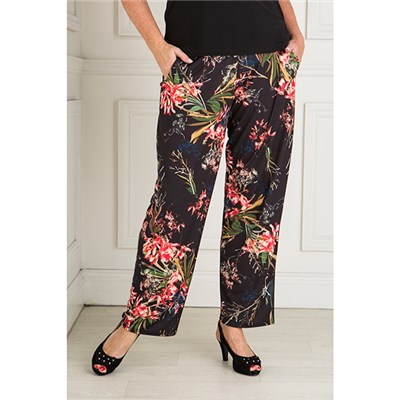 Styled By Exotic Floral Print Straight Leg Trouser