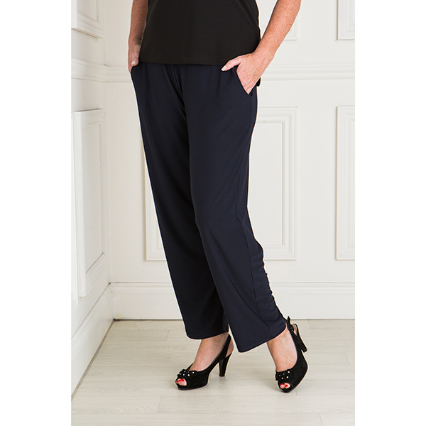 Styled By Straight Leg Trouser with Pockets Navy