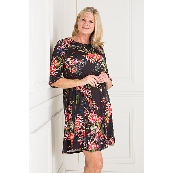 Styled By Exotic Print Fit and Flare Dress with Frill Sleeve Print