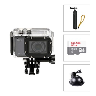 Activeon CX HD Pocket Action Camera with Case, Car Mount and Hand Grip