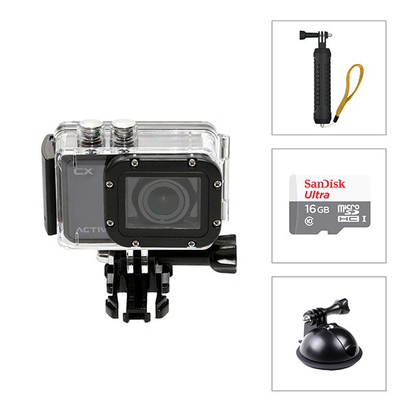 Activeon CX HD Pocket Action Camera with Case, Car Mount and Hand Grip No Colour
