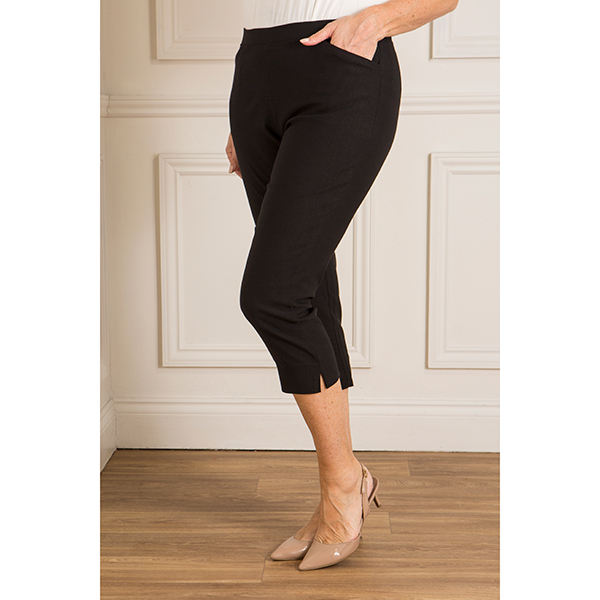 Emelia Super Stretch Bengaline Cropped Trouser Black