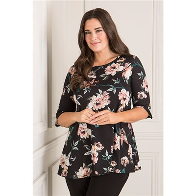 Styled By Floral Print 3/4 Sleeve Frill Sleeve Tunic Top