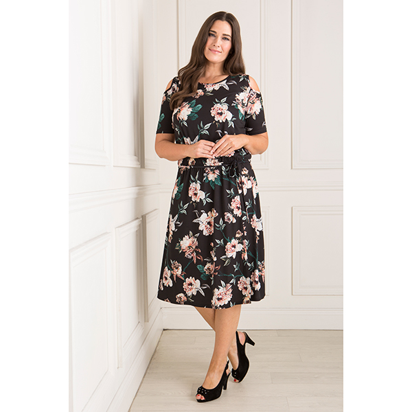Styled By Cold Shoulder Floral Print Dress Print