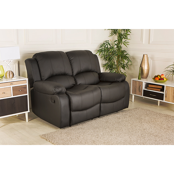 Chicago Bonded Leather Two Seater Recliner Sofa Black