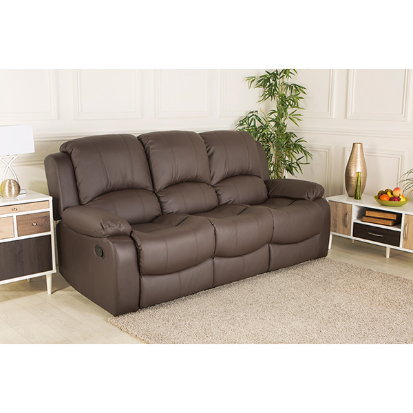 Chicago Bonded Leather Three Seater Recliner Sofa Brown