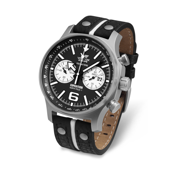 Vostok Europe Gent's Expedition N1 Chronograph Watch with Genuine Leather Strap Black