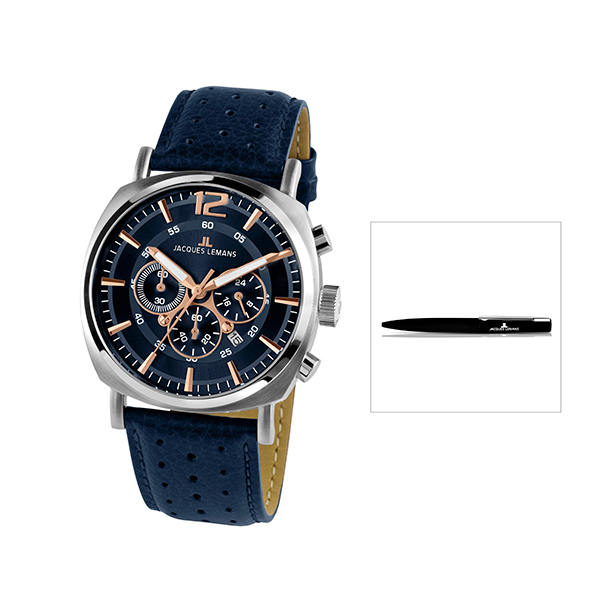 Jacques Lemans Lugano Chronograph with FREE Pen Blue