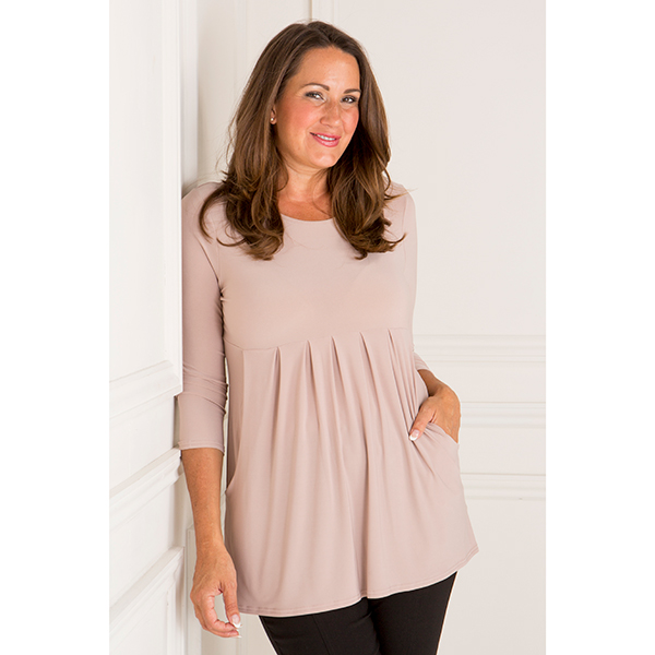Nicole 3/4 Sleeve Pleat Pocket Top Latte