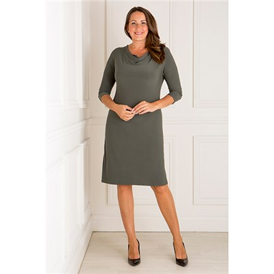 Nicole 3/4 Sleeve Cowl Neck Dress