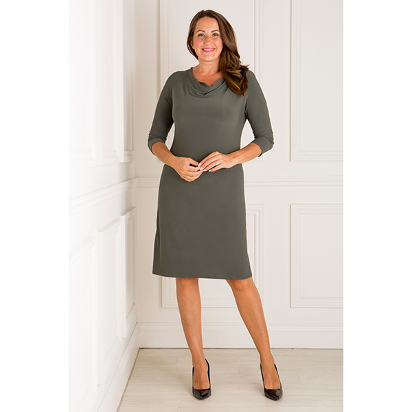 Nicole 3/4 Sleeve Cowl Neck Dress Green