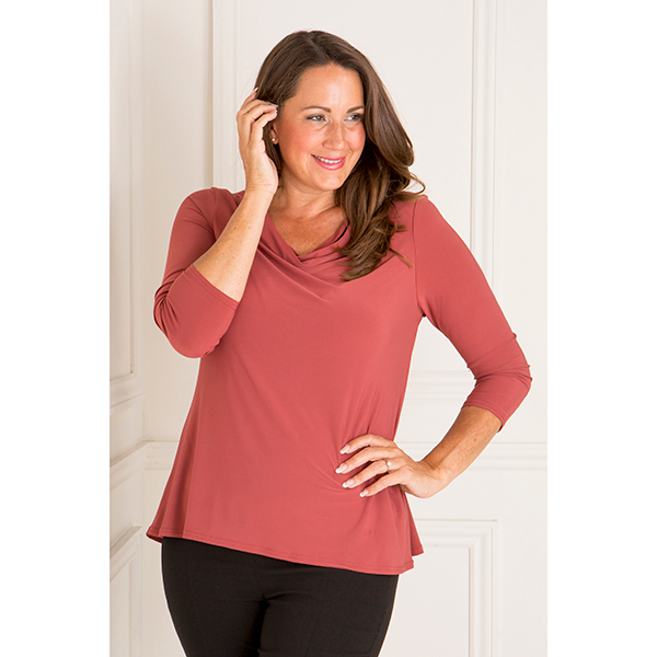 Nicole 3/4 Sleeve Cowl Neck Top Dark Rose