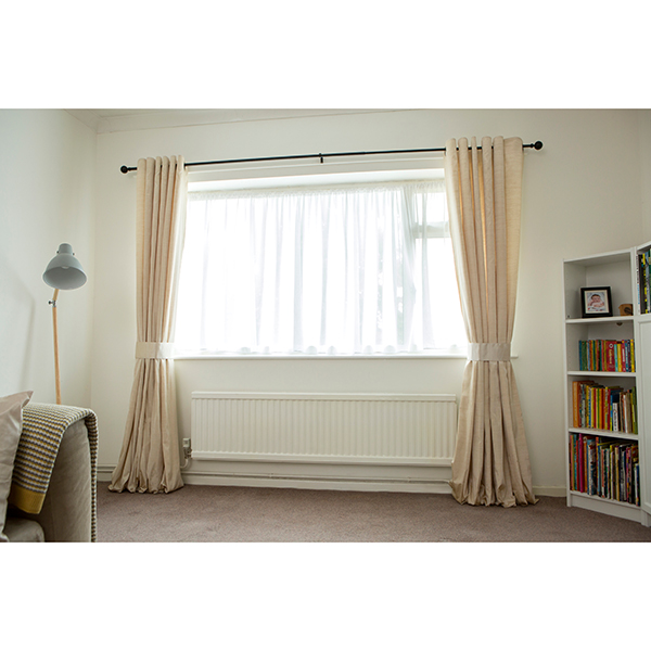 Faux Silk (90 inches x) Lined Ring Top Curtains Natural
