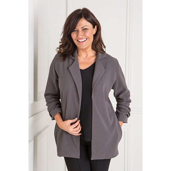 Anamor Ruched Sleeve Rib Jacket Slate