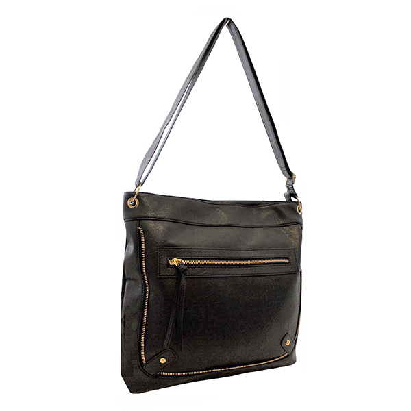 Zip Detail Shoulder Bag Black