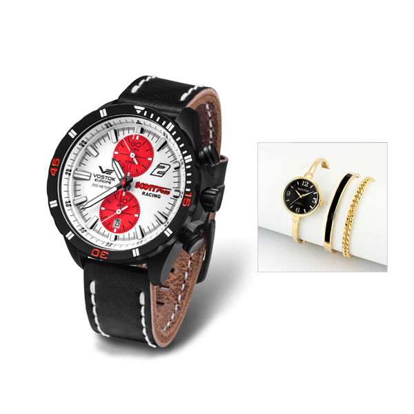 Vostok Europe Gent's Scott Free Racing Chronograph with FREE Ladies' Watch White/Red