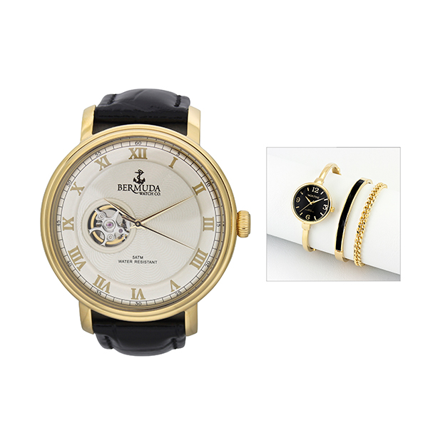 Bermuda Gent's Paget Automatic Watch with Open Heart with FREE Ladies' Watch Black