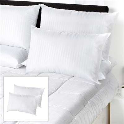 Downland Premium Quality Satin Stripe Pillow Pair BOGOF