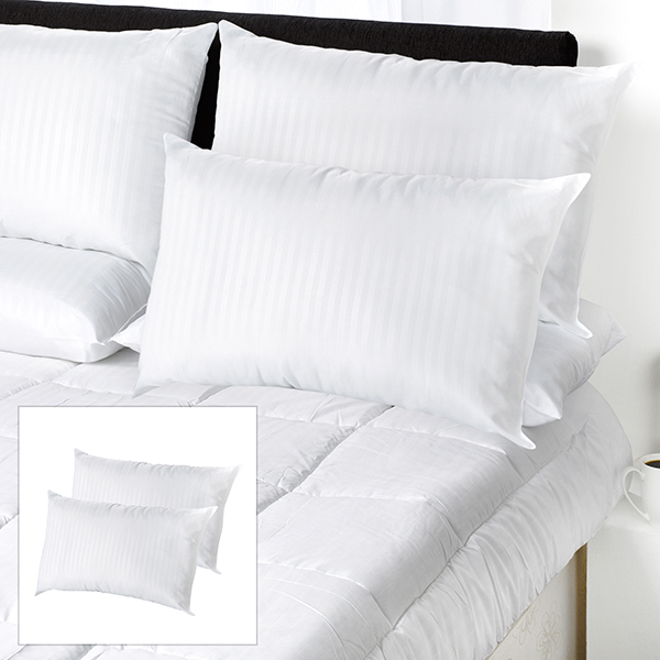 Downland Premium Quality Satin Stripe Pillow Pair BOGOF No Colour