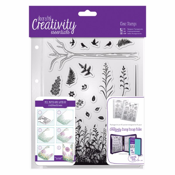 docrafts A5 Clear Stamp Set 20pcs - Forest No Colour