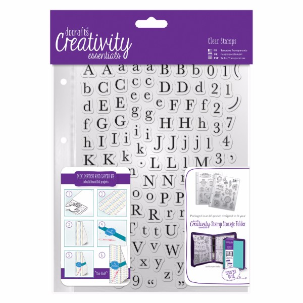 docrafts A5 Clear Stamp Set (129pcs) - Alphas Trad No Colour