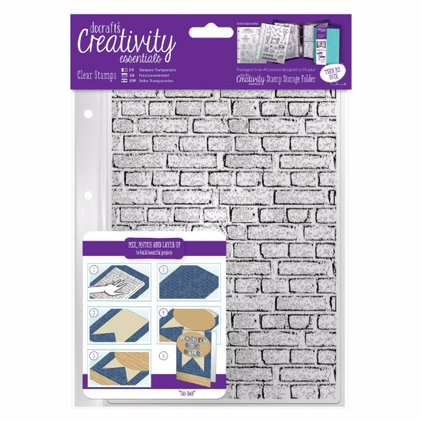 docrafts A5 Clear Stamp Set (1pcs) - Brickwork Background No Colour
