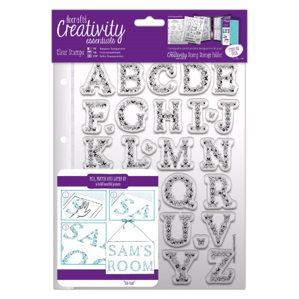 docrafts A5 Clear Stamp Set (32pcs) - Butterfly Alphabet No Colour