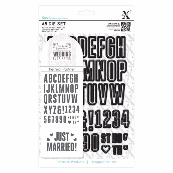 Xcut A5 Die Set (48pcs) - Wedding Alphabet and Numbers No Colour