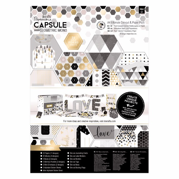 Papermania A4 Ultimate Die-cut & Paper Pack (48pk) - Capsule - Geometric Mono No Colour