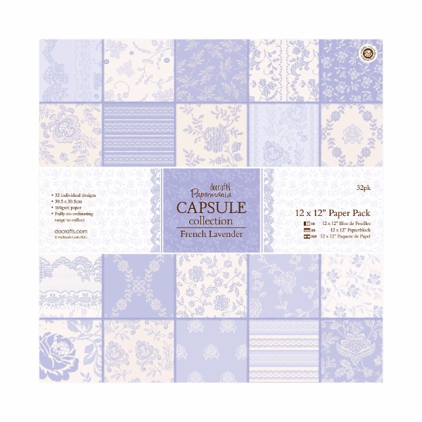 "Papermania 12 x 12"" Paper Pack (32pk) - Capsule Collection - French Lavender No Colour"