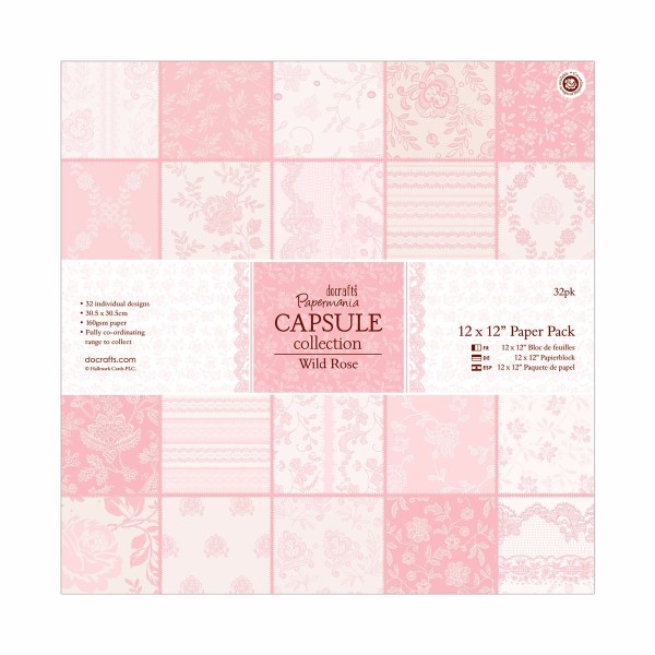 Papermania 12 x 12 inch Paper Pack 32pk - Capsule Collection - Wild Rose No Colour