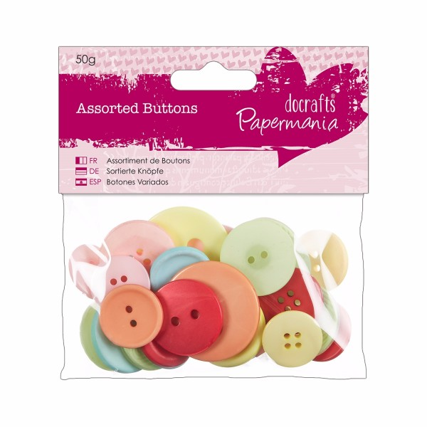 docrafts Papermania Assorted Buttons (50g) - Vintage No Colour