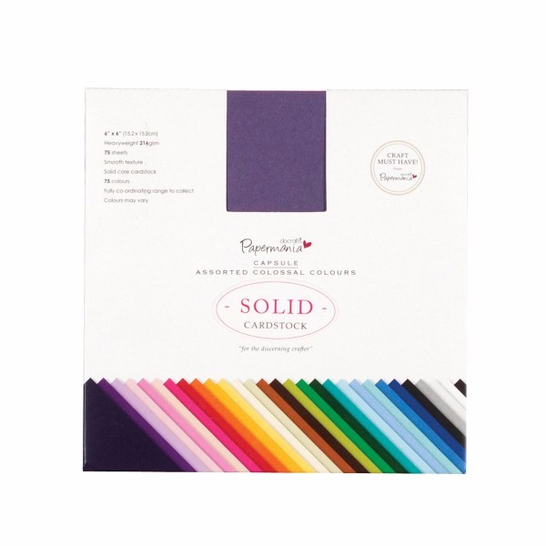 "Papermania 6 x 6"" Solid Premium Cardstock Colossal (75pcs) - Capsule No Colour"
