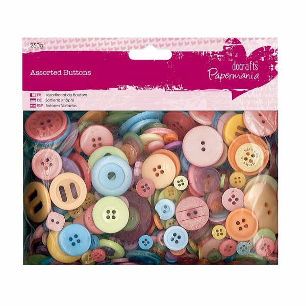 Papermania Assorted Buttons (250g) - Mixed Bright No Colour