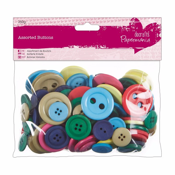 Papermania Assorted Buttons (250g) - Brights No Colour