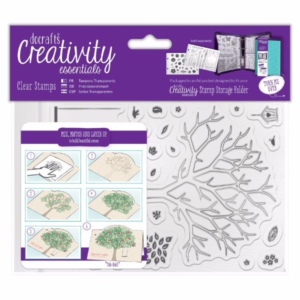 docrafts A6 Clear Stamp Set (30pcs) - Build A Tree No Colour
