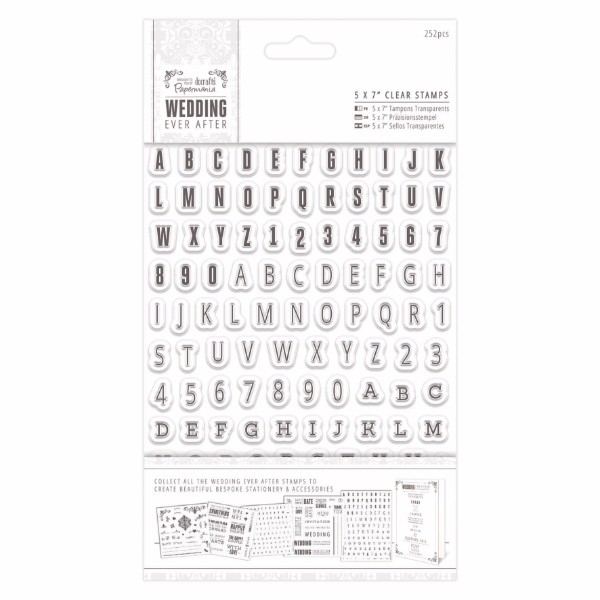 Papermania 5 x 7 inch Clear Stamps - 252pcs - Alphas and Numbers No Colour