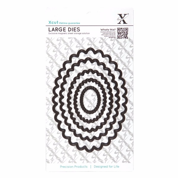 Xcut Nesting Dies (5pcs) - Scalloped Oval (Large) No Colour